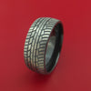 Black Zirconium Ring with Tire Tread Pattern Inlay Custom Made Band