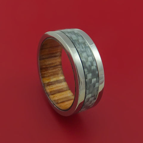 Titanium Ring with Carbon Fiber Inlay and Apple Wood Sleeve Custom Made