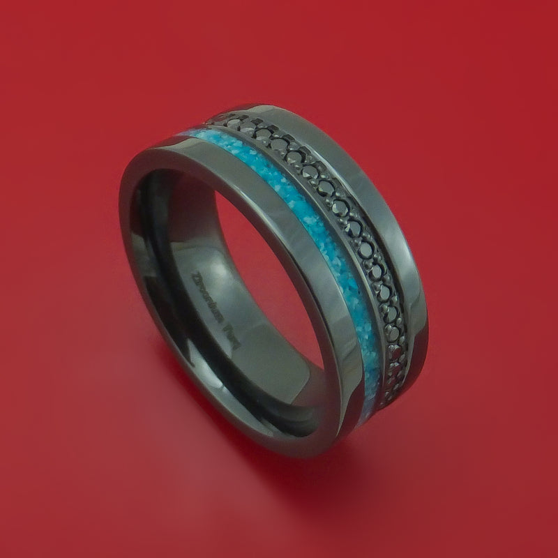 Black Zirconium and Black Diamond Ring with Turquoise Inlay Custom Made