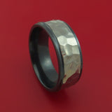 Black Zirconium Rock Hammer Finish Ring Custom Made Band