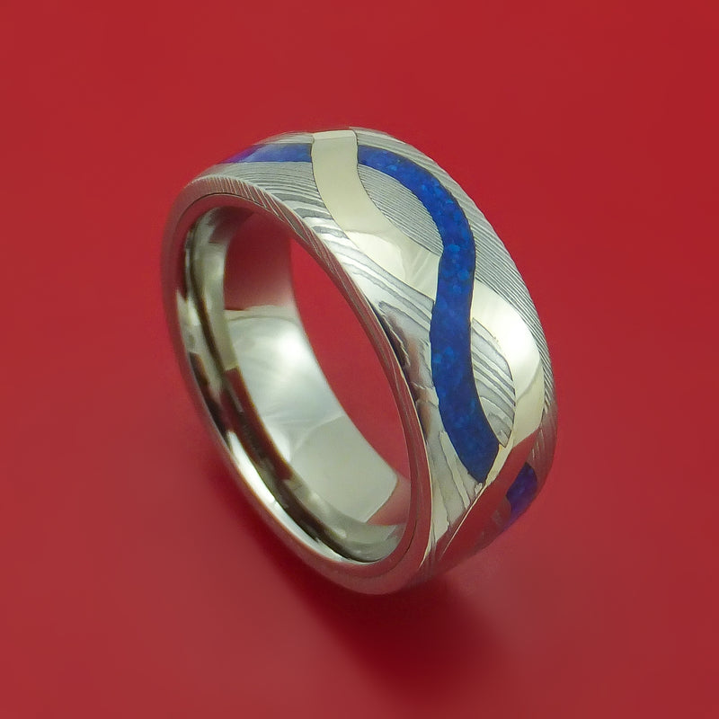 Damascus Steel with 14K Gold and Lapis Infinity Inlay Custom Made