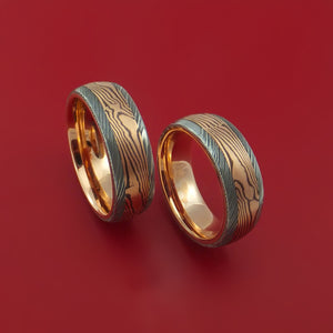 Damascus Steel Ring Set with Rose Gold Mokume Shakudo and Rose Gold Sleeves Custom Made Bands
