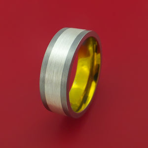 Titanium Anodized Ring with Sterling Silver Inlay Custom Made Band Choose Your Color