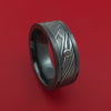 Black Zirconium and Kuro Damascus Steel Band with Black Diamond Custom Made Ring