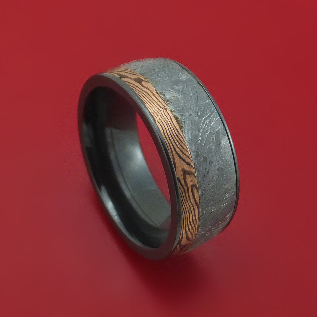 Black Zirconium Ring with Meteorite and Mokume Shakudo Inlays Custom Made
