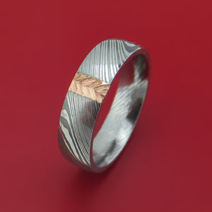 Damascus Steel and Gold Ring with Feather Texture Custom Made Band