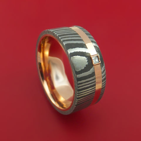 Damascus Steel Ring with 14k Rose Gold Inlay and Sleeve and Diamond Custom Made Band