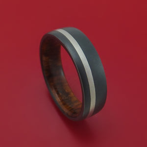Black Zirconium and Platinum Ring with Wood Sleeve Custom Made Band