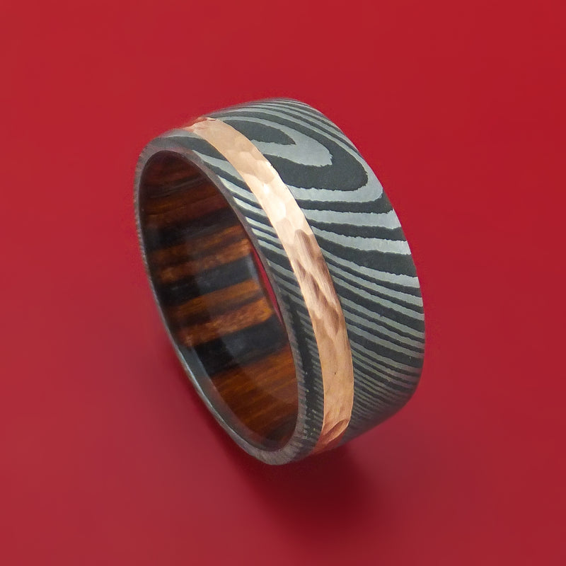 Damascus Steel Band With Hammered 14k Rose Gold And Wood Sleeve Custom Made