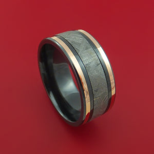 Black Zirconium Ring with Gibeon Meteorite and 14k Rose Gold Inlays Custom Made Band