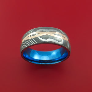 Damascus Steel Ring with 14k Rose Gold Inlay and Interior Anodized Titanium Sleeve Custom Made Band