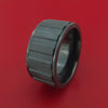 Wide Black Zirconium Spinner Ring with Milled Gear Design Inlay Custom Made Band