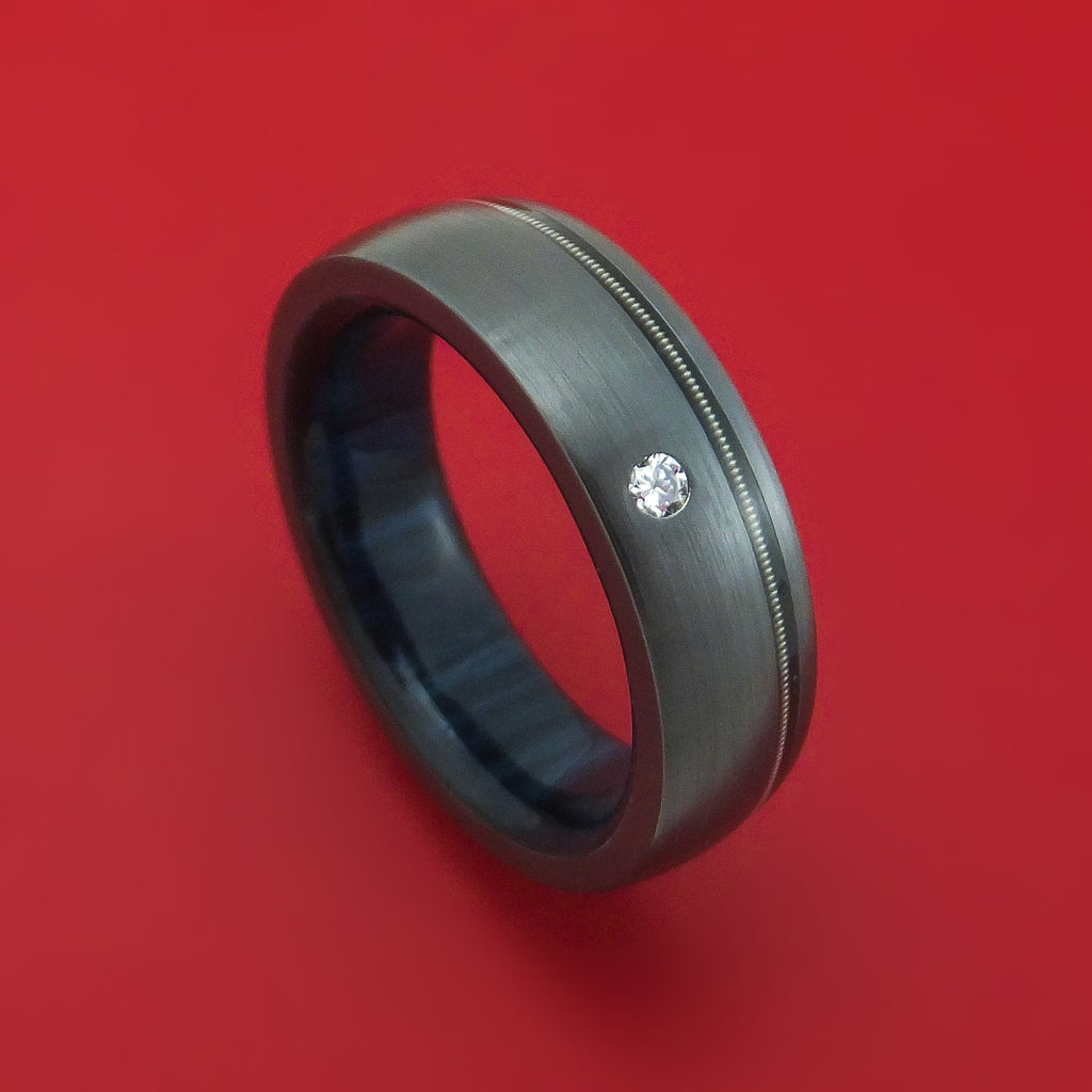 Black Zirconium Ring with Nickel-Wound Guitar String Inlay Diamond and Interior Hardwood Sleeve Custom Made Band