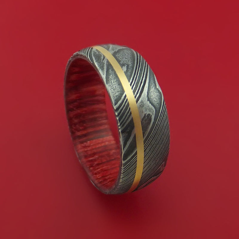 Kuro Damascus Steel Ring with 14k Yellow Gold Inlay and Interior Hardwood Sleeve Custom Made Band