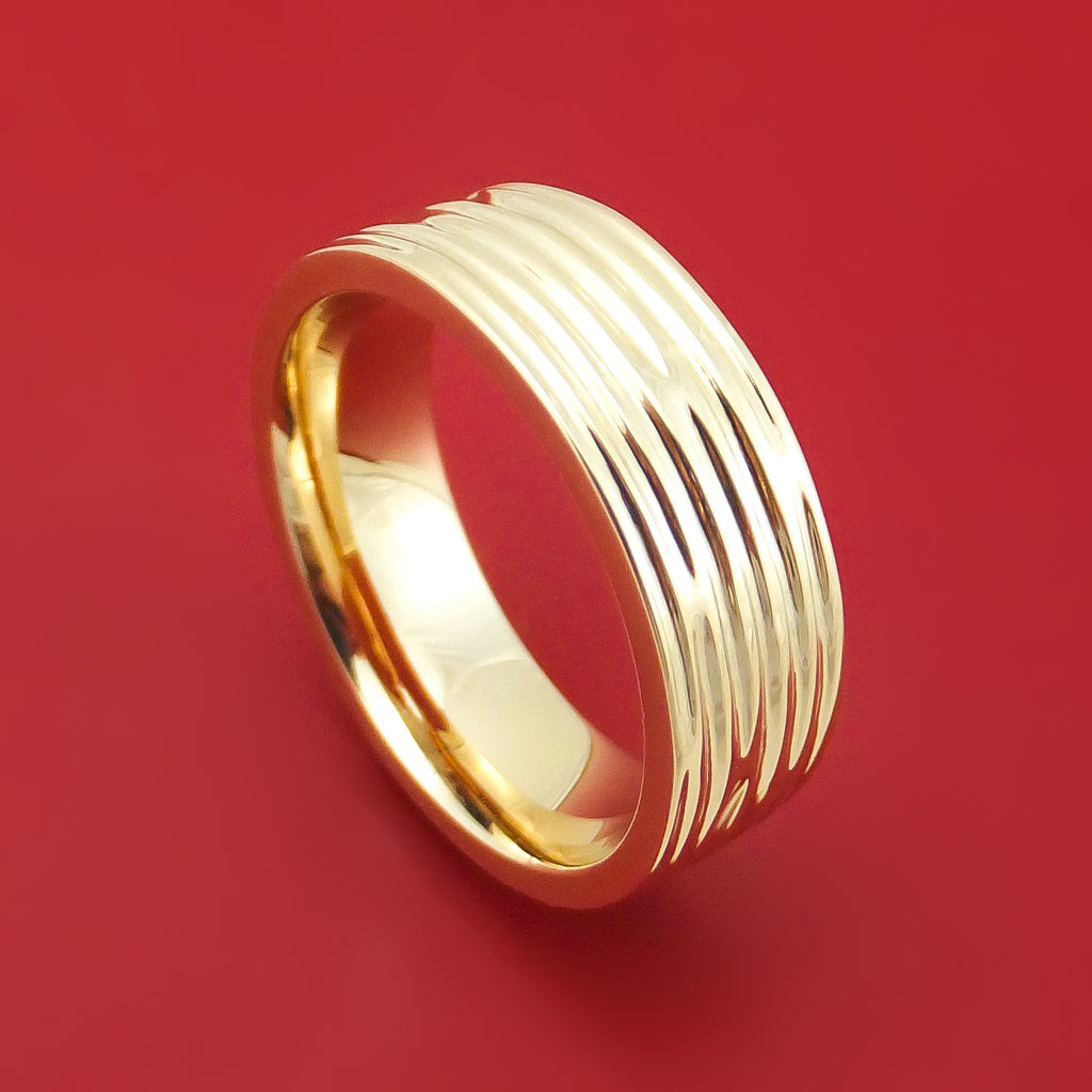 14K Gold Ring with Tree Bark Finish Custom Made Band