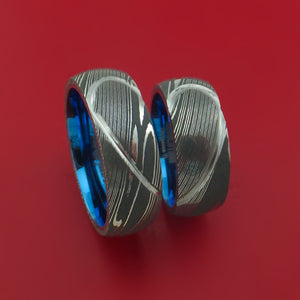 Matching Damascus Steel Heart Carved Ring Set Anodized Titanium Wedding Bands Genuine Craftsmanship