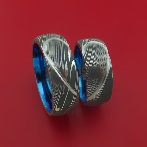 Matching Damascus Steel Heart Carved Ring Set Anodized Wedding Bands Genuine Craftsmanship