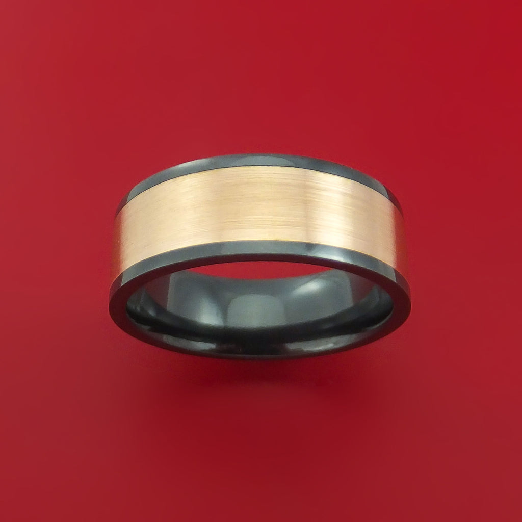 Black Zirconium Ring with Wide 14K Rose Gold Inlay Custom Made Band