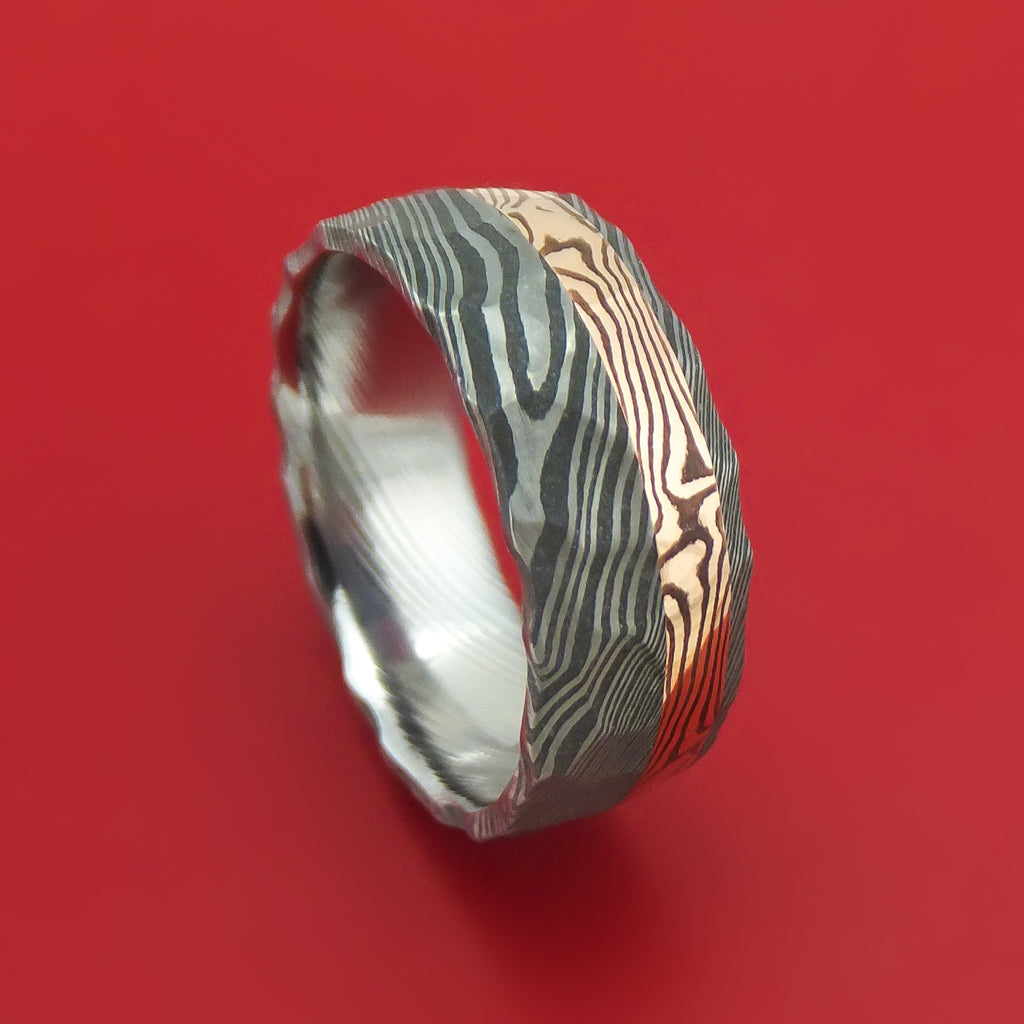 Damascus Steel And 14K Rose Gold Mokume Shakudo Rock Hammered Band Custom Made
