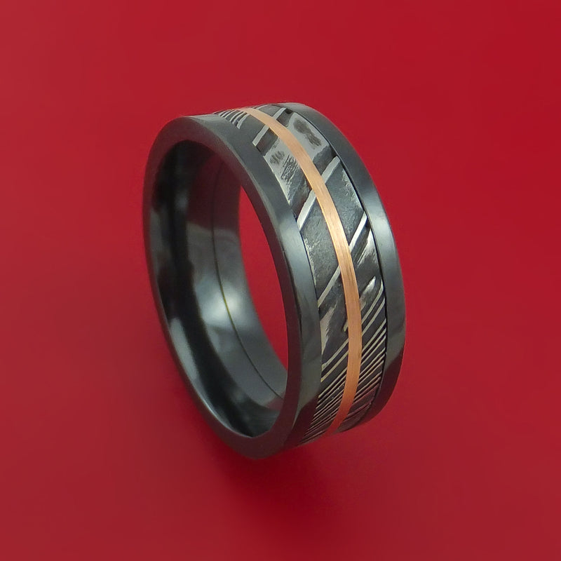 Black Zirconium Ring with Kuro Damascus Steel and 14k Rose Gold Inlays Custom Made Band