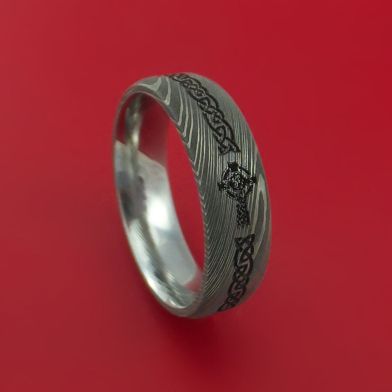 Damascus Steel Ring with Cross Etched Celtic Design Inlay Custom Made Band