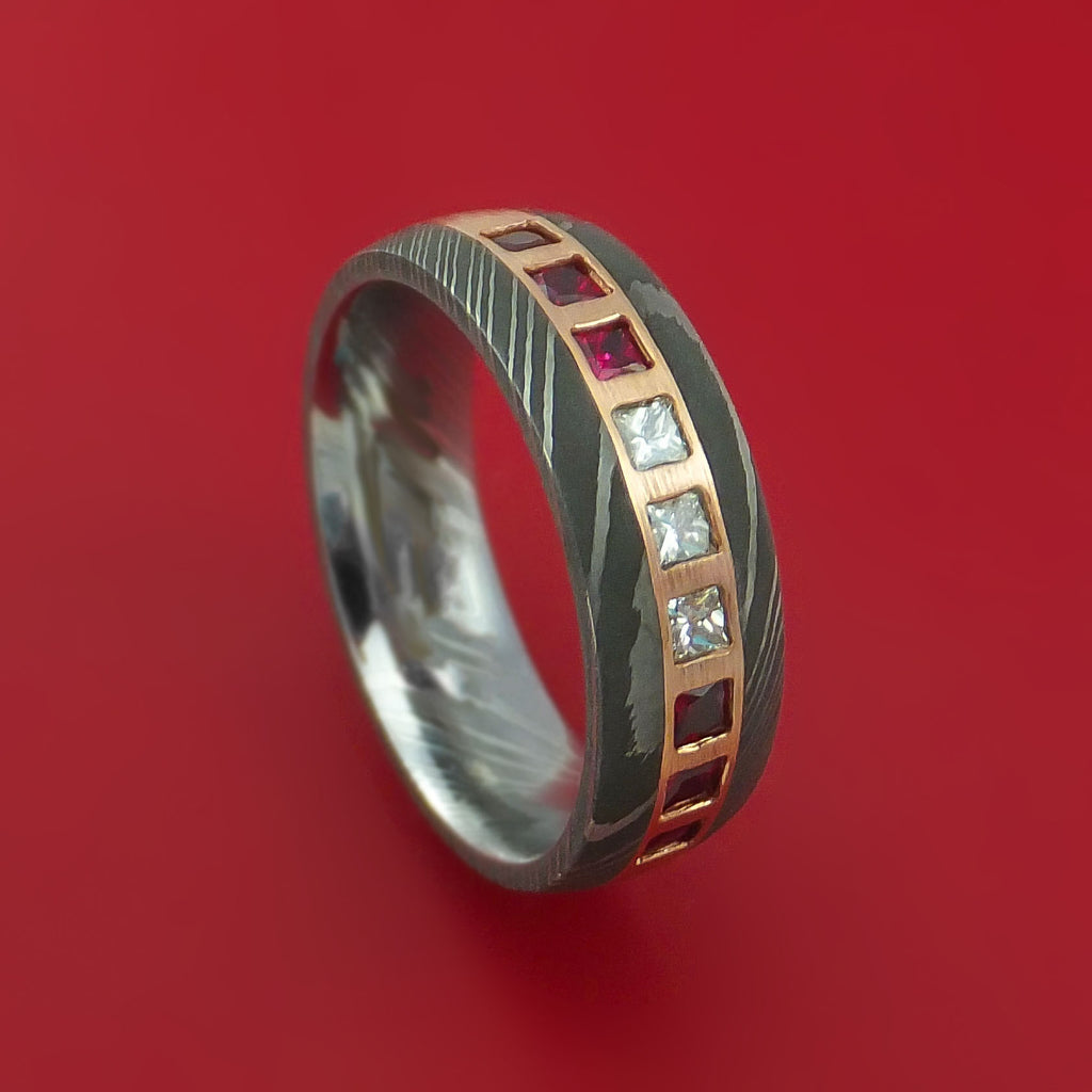 Damascus Steel Band with 6 Rubies and 3 Diamonds Set into a 14k Rose Gold Inlay Custom Made Ring