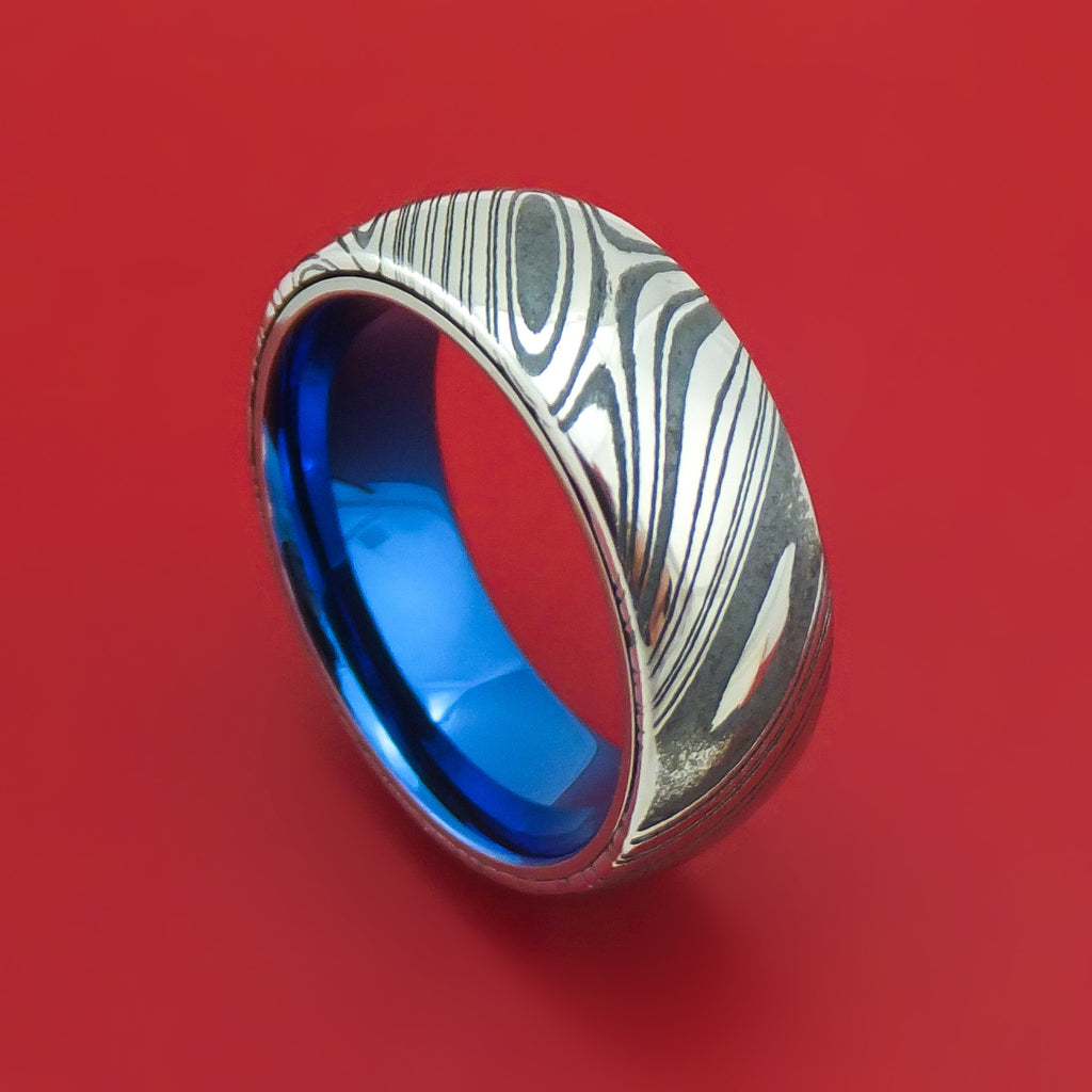 Kuro Damascus Steel Ring With Anodized Titanium Interior Sleeve Custom Made