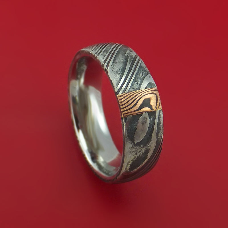 Kuro Damascus Steel Ring with 14k Rose Gold Mokume Shakudo Inlay Custom Made Band