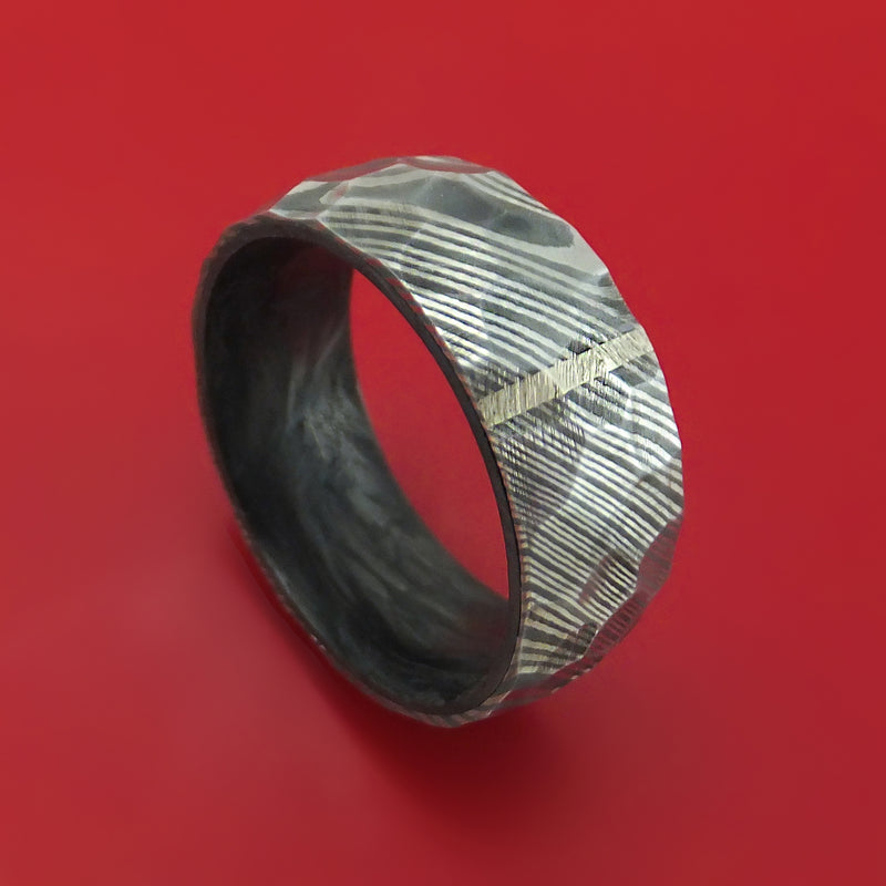 Damascus Steel Hammered Ring with Vertical 14K Gold Inlay and Forged Carbon Fiber Sleeve Custom Made