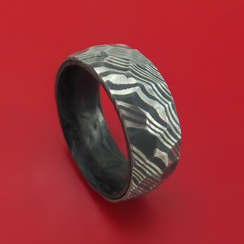 Damascus Steel Hammered Ring with Forged Carbon Fiber Sleeve Custom Made