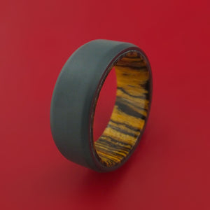 Black Zirconium and Bocote Wood Hard Wood Sleeve Ring Custom Made