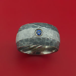 Kuro Damascus Steel Ring with Gibeon Meteorite Inlay and Sapphire Custom Made Band