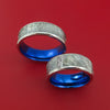 Cobalt Chrome and Meteorite Matching Wedding Band Set Engagement Rings Anodized