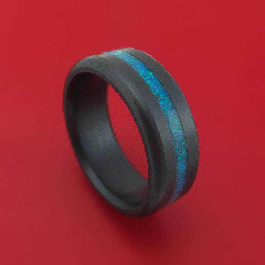 Elysium Black Diamond Wedding Band Rounded With Polish Finish and an Opal Inlay