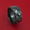Wide Hammered Black Zirconium Ring Custom Made Band
