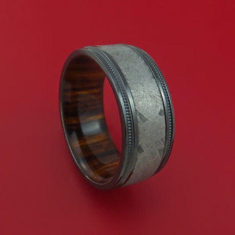 Gibeon Meteorite in Black Zirconium Wedding Band with Desert Ironwood Burl Sleeve Made to any Sizing and Width