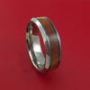 Black Zirconium Ring with Hardwood Inlay and Interior Silvered Zirconium Sleeve Custom Made Band