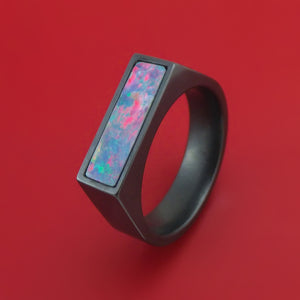 Black Zirconium Signet Ring with Opal Inlay