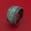 Wide Kuro Damascus Steel Ring with Gibeon Meteorite Inlay and Interior Hardwood Sleeve Custom Made Band