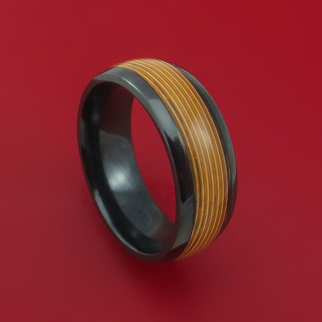 Black Zirconium Guitar String Ring Custom Made Band