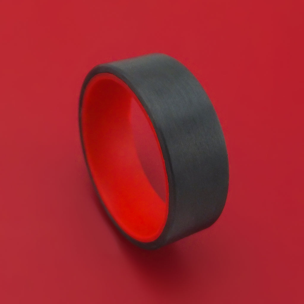 Carbon Fiber and Red Glow Sleeve Ring Custom Made
