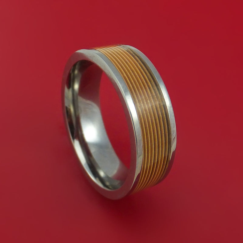 Titanium Ring with Brass-Wound Guitar String Inlay Custom Made Band