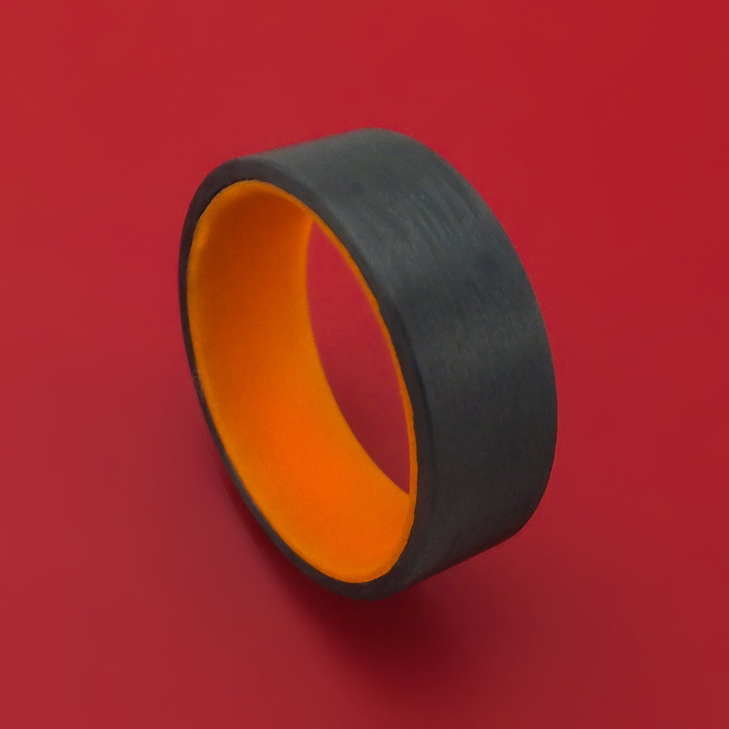 Carbon Fiber and Orange Glow Sleeve Ring Custom Made