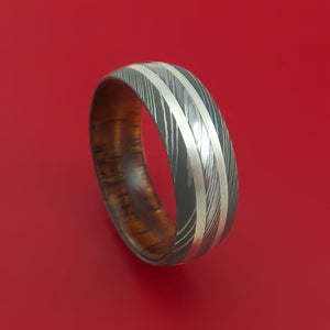 Damascus Steel Ring with Silver Inlays and Koa Hard Wood Sleeve