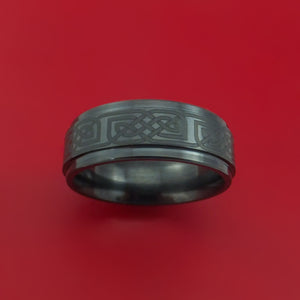 Black Ceramic Ring with Infinity Knot Etched Celtic Design Inlay Custom Made Band