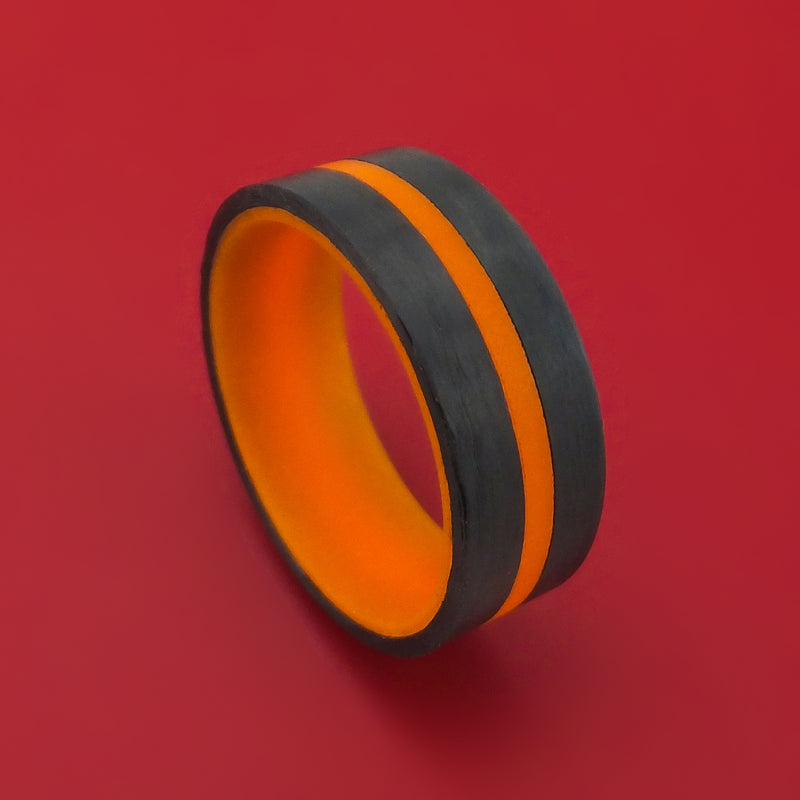 Carbon Fiber and Orange Glow Ring Custom Made