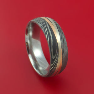 Damascus Steel Ring with 14k Rose Gold and 14k White Gold Inlays Custom Made Band