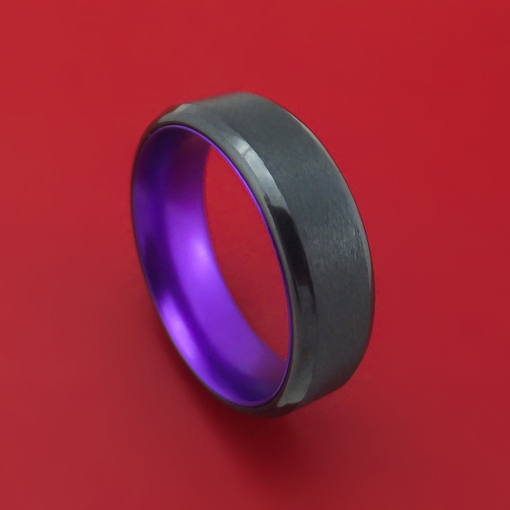 Black Zirconium With Purple Anodized Sleeve Custom Made Band Choose Your Color