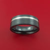 Black Zirconium Ring with Platinum Inlay Custom Made Band
