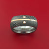 Damascus Steel Square Band with 14k Rose Gold and Diamonds Custom Made Ring